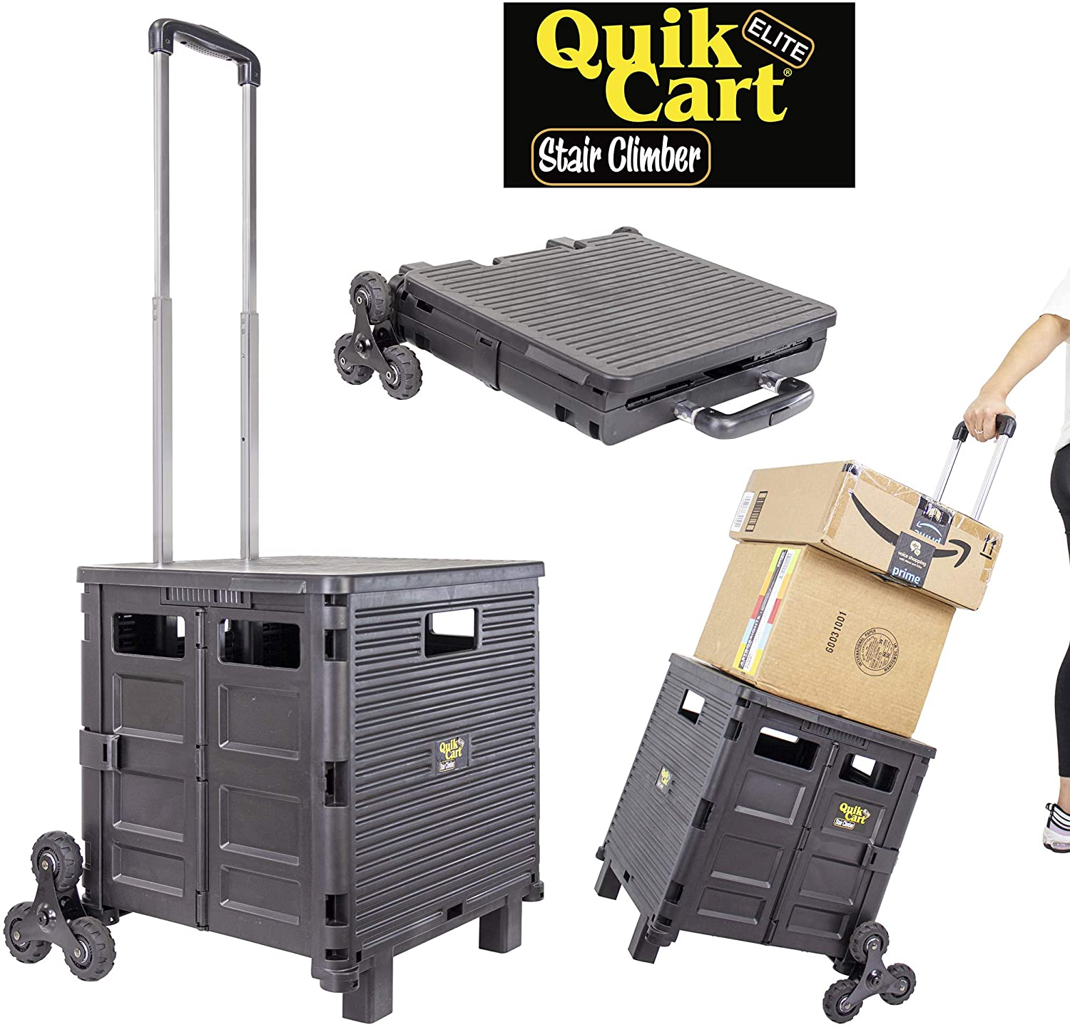 dbest products Quik Cart Elite Stair Climber Wheeled Rolling Crate Teacher Utility with seat Heavy Duty Collapsible Basket with Handle, Black