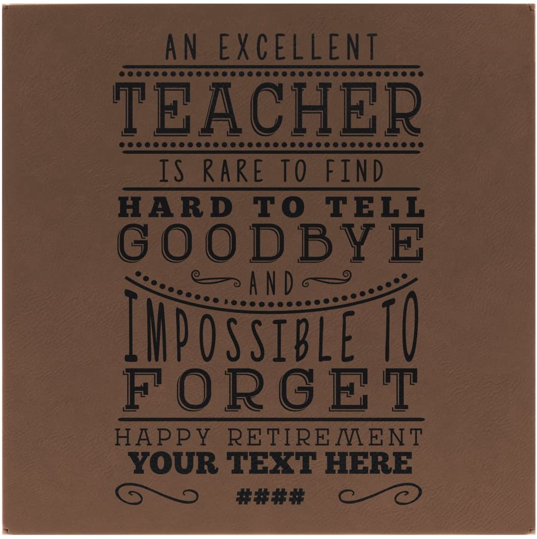 Happy Retirement Decorations Teacher Retirement Gifts for Women Teacher Retirement Gifts for Men Brown Laser Engraved Leatherette 10x10 Customized Wall Art Brown