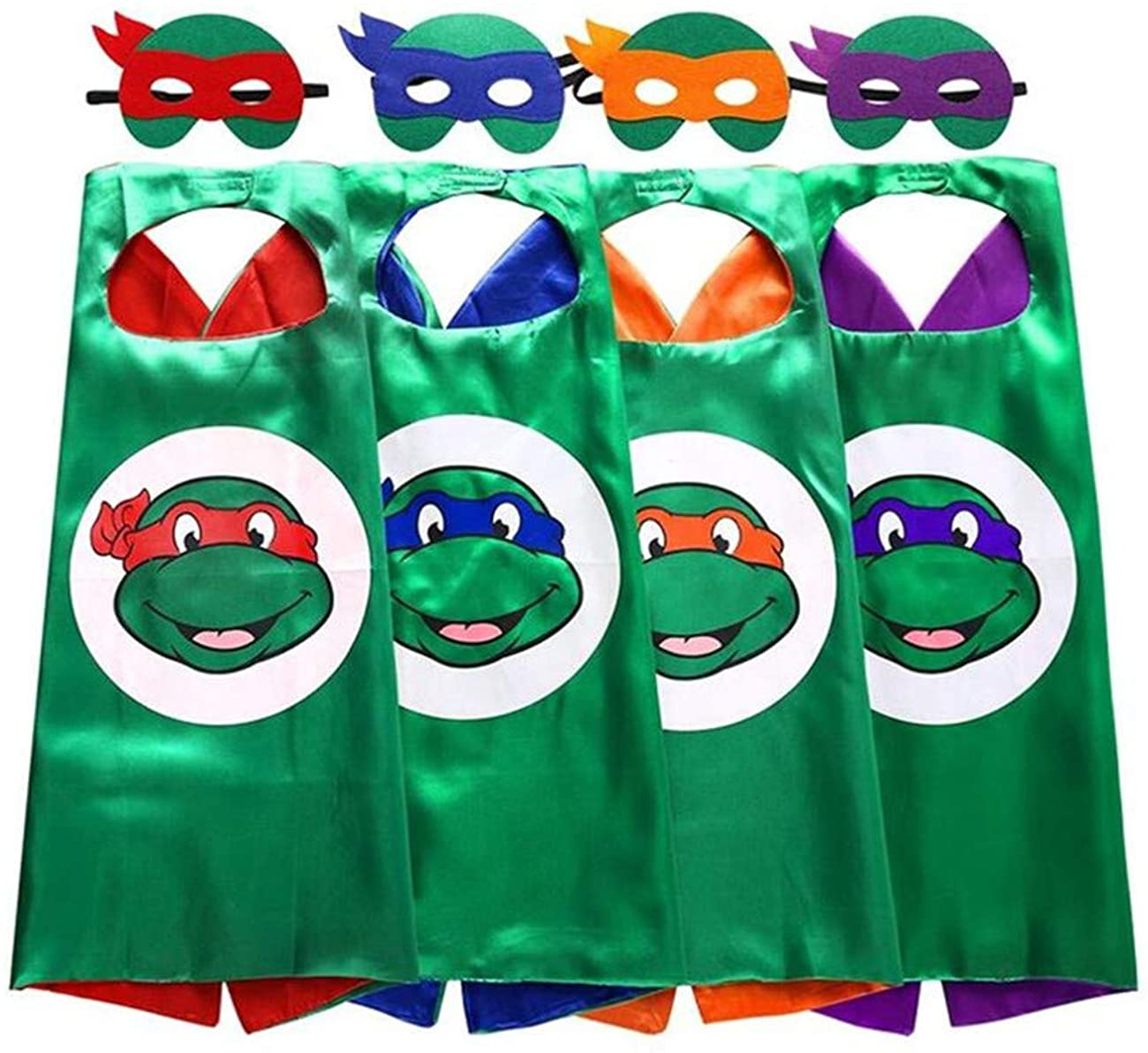 Superhero TMNT Cartoon Costume 4 Thermal Pransfer Satin Cape with Felt Mask