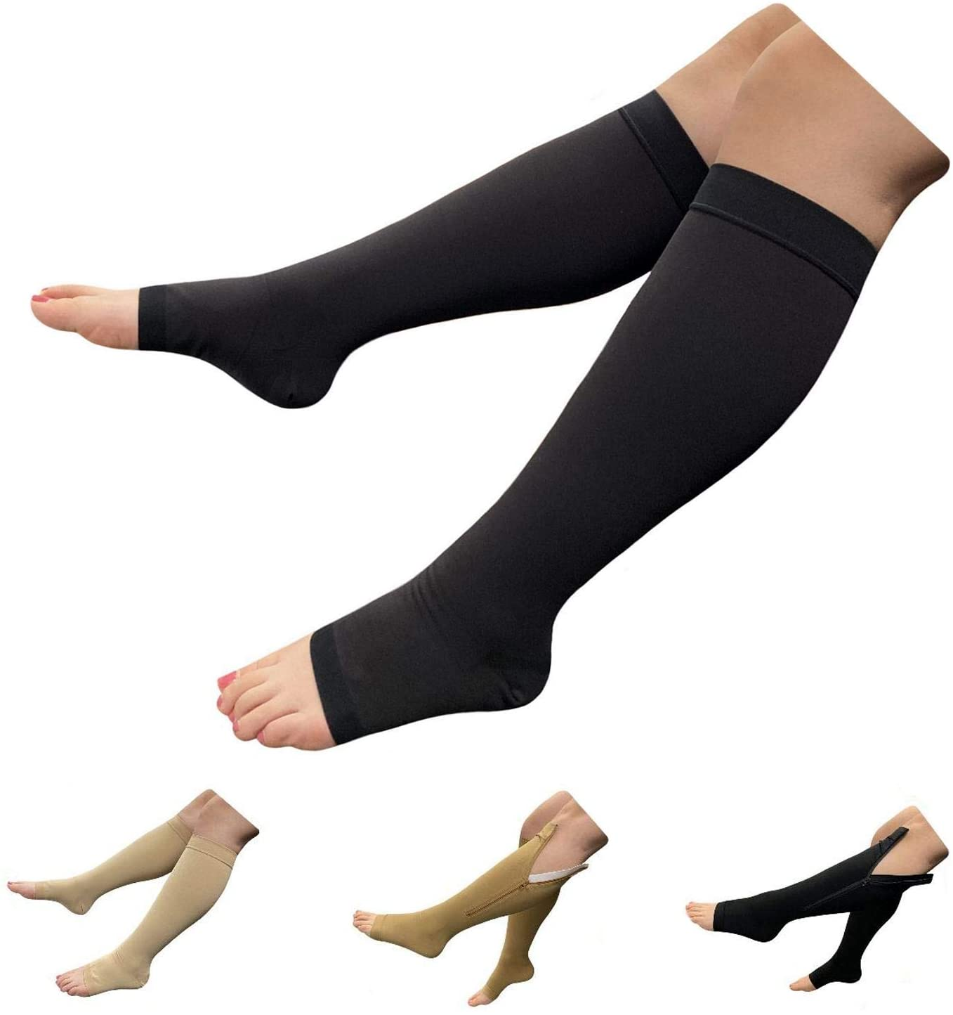 HealthyNees Big Tall Open Toe 20-30 mmHg Compression Plus Wide Calf Leg Socks (Black, 2X-Large)