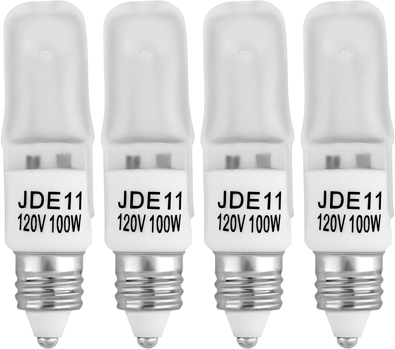 4-Pack JDE11 120V 100W Frosted Halogen JDE11 100W Bulb Warm White 100 Watt T4 E11 Bulb Frosted JD E11 T4 100W for Chandeliers, Pendants, Table Lamps, Cabinet Lighting, Mini-Candelabra Base T4 Bulb