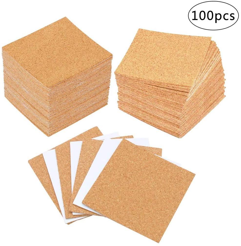 iSuperb 100 Pack Cork Board Sheet Self Adhesive Cork Coasters DIY Non-Slip Cork Pads Cork Mat Handmade Mini Cork Wall Tile Crafts Board(Square)