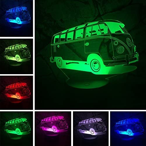 Creative 3D Bus Night Light 7 Colors Changing USB Power Touch Switch Decor Lamp Optical Illusion Lamp LED Table Desk Lamp Children Kids Brithday Christmas Gift