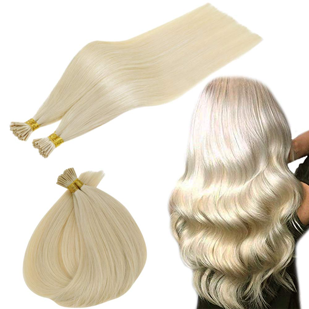 RUNATURE I Tip Keratin Hair Extensions Cold Fusion Human Hair Blonde 16 Inches 40g 50 Strands Pre Bonded Stick Tip Human Hair Extensions Keratin Fusion Hair Remy Hair Extensions