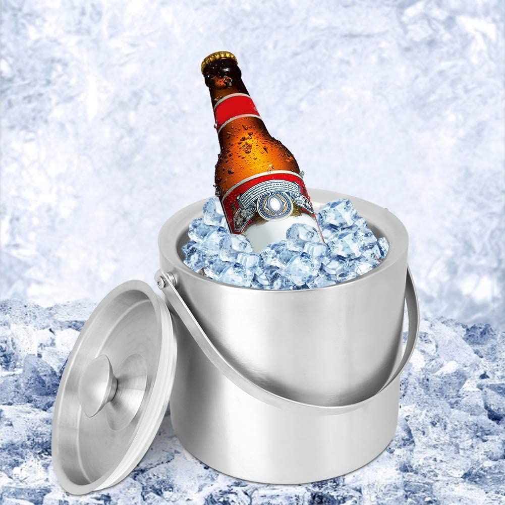 Ginyia Ice Bucket, 3L Thicked Stainless Steel Beer Wine Bucket Champagne Bucket Wine Bottle Cooler with Handles and Lids for BBQ, Bars, Home