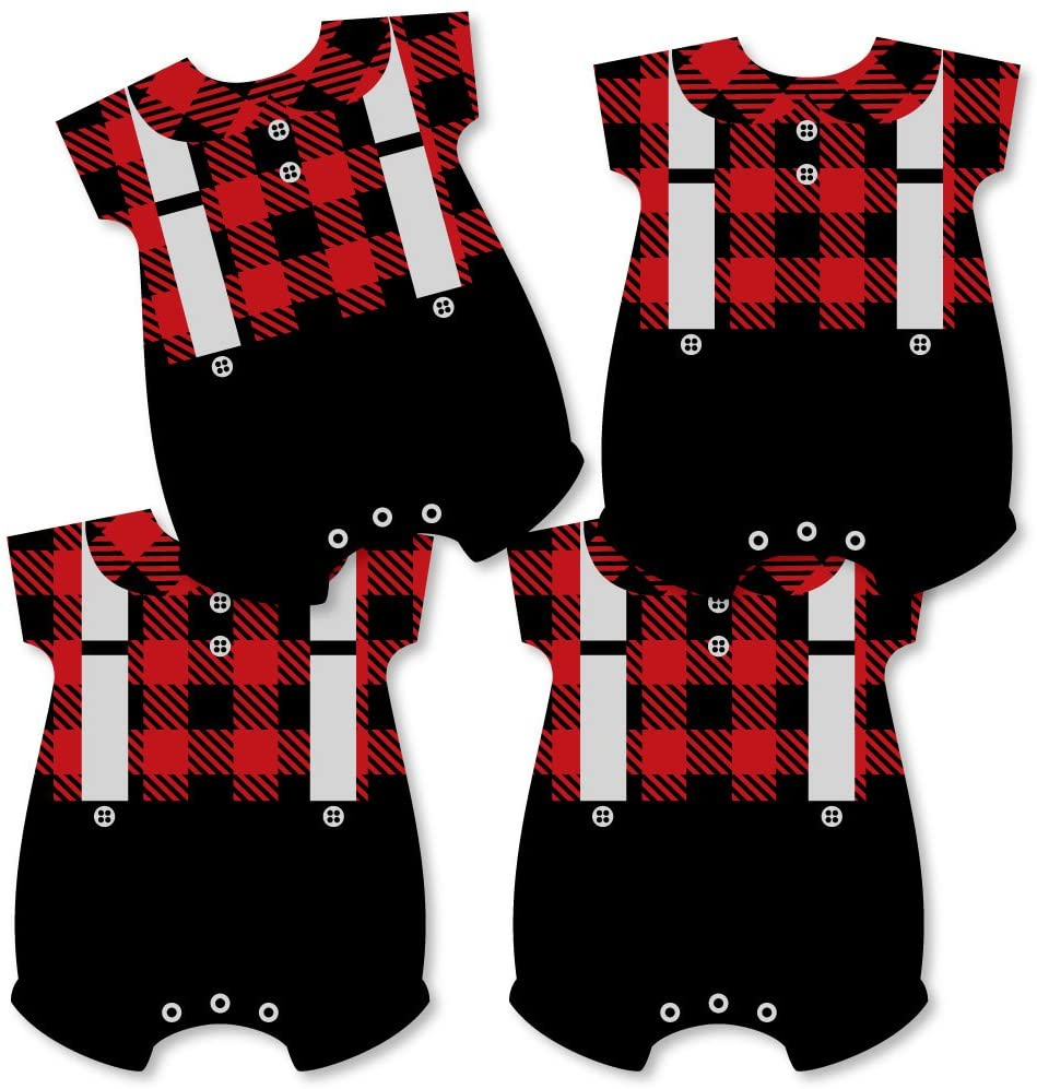 Big Dot of Happiness Lumberjack - Baby Bodysuit Channel The Flannel Decorations - DIY Buffalo Plaid Baby Shower or 1st Birthday Party Essentials - Set of 20