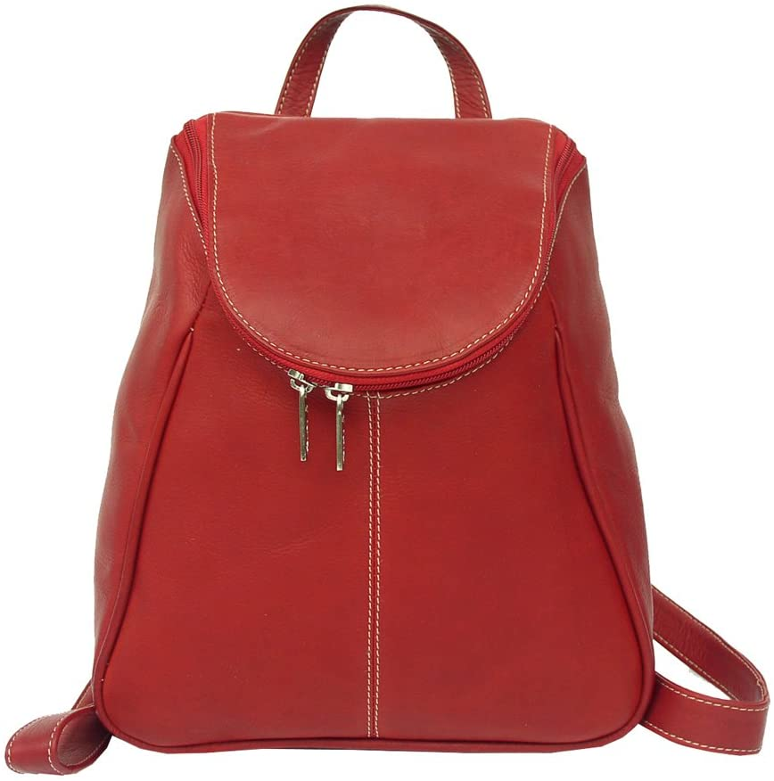 Piel Leather U-Zip Backpack, Red, One Size