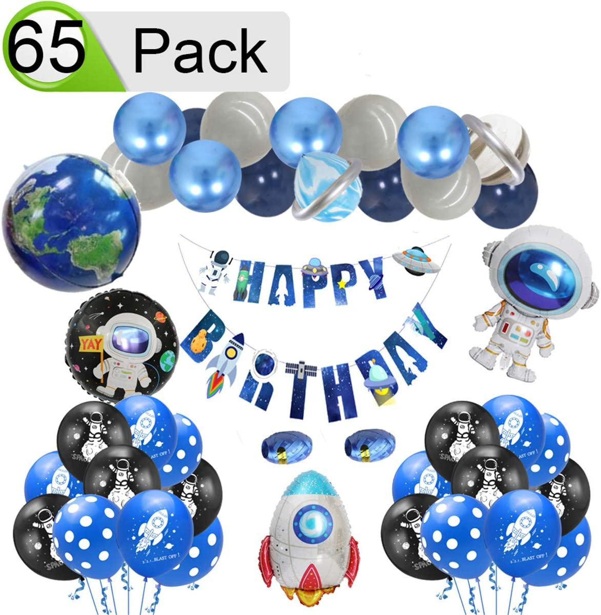 QAQGEAR Kids Universe Outer Space Solar System Theme Birthday Party Decor Kit,Astronaut Rocket Latex Aluminum film Balloons Happy Birthday Banner for Party Supplies Galaxy Theme Party