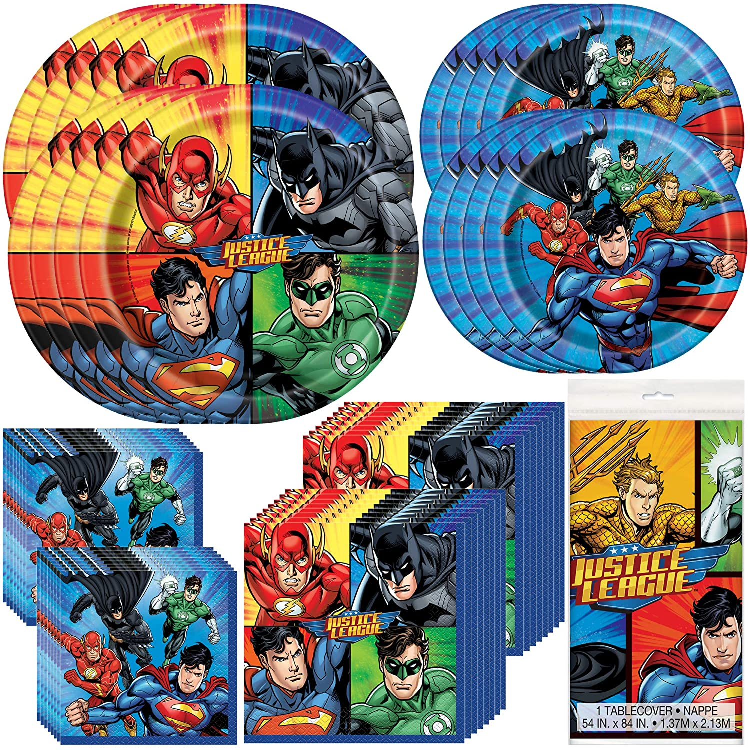 Unique Justice League Party Bundle | Luncheon & Beverage Napkins, Dinner & Dessert Plates, Table Cover | Great for Action/Superhero/Comics Birthday Themed Parties
