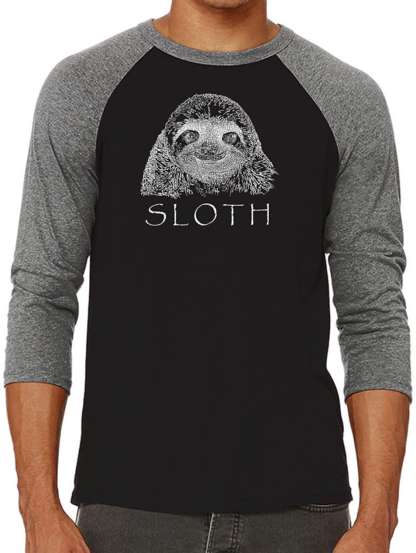 Mens Raglan Baseball Word Art T-Shirt - Sloth - by LA Pop Art
