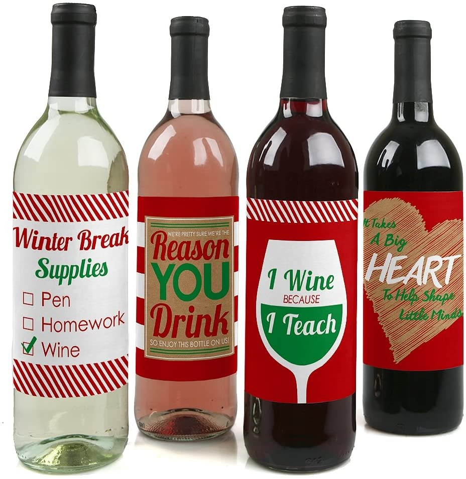 Big Dot of Happiness Teacher Christmas - Holiday & Christmas Gift for Women and Men - Wine Bottle Label Stickers - Set of 4