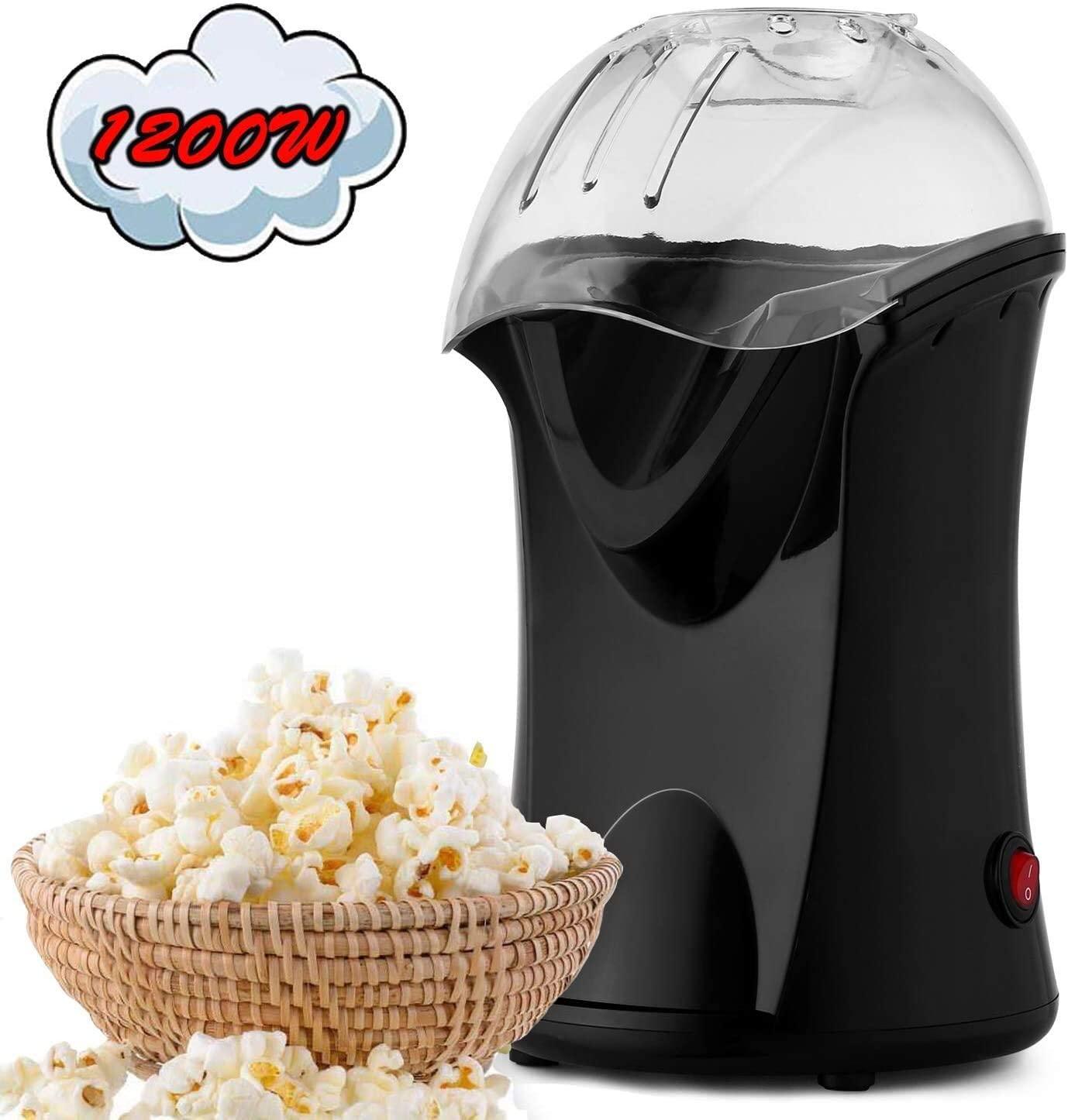 Hot Air Popcorn Popper, Popcorn Machine, 1200W Popcorn Maker for Home Use, No Oil Needed Healthy Popcorn Popper (Black)