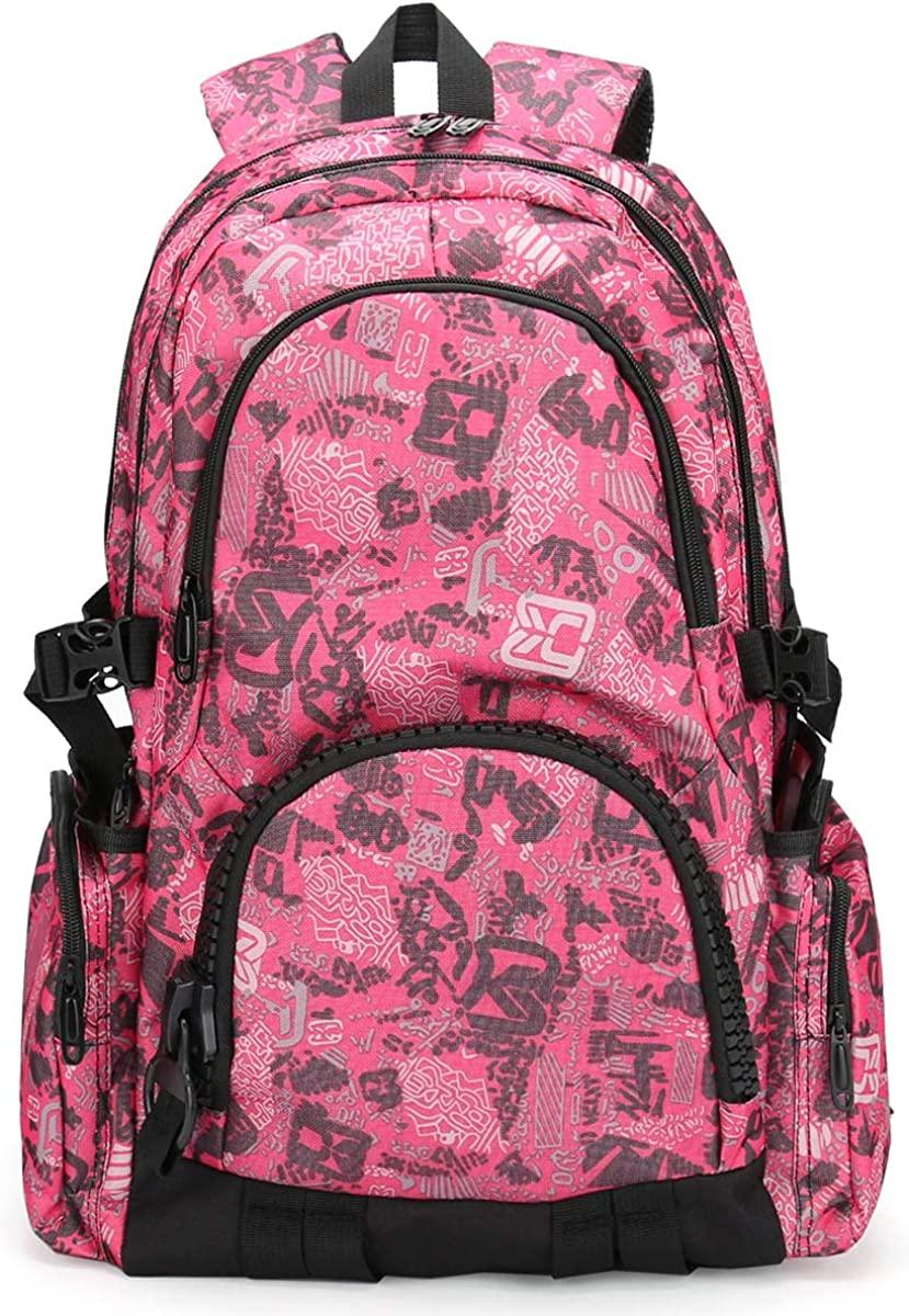 GoFar Travel Backpack for Women, Pink Water Resistant College School Girls Bookbag Fashion Work Hiking Bag Daypack