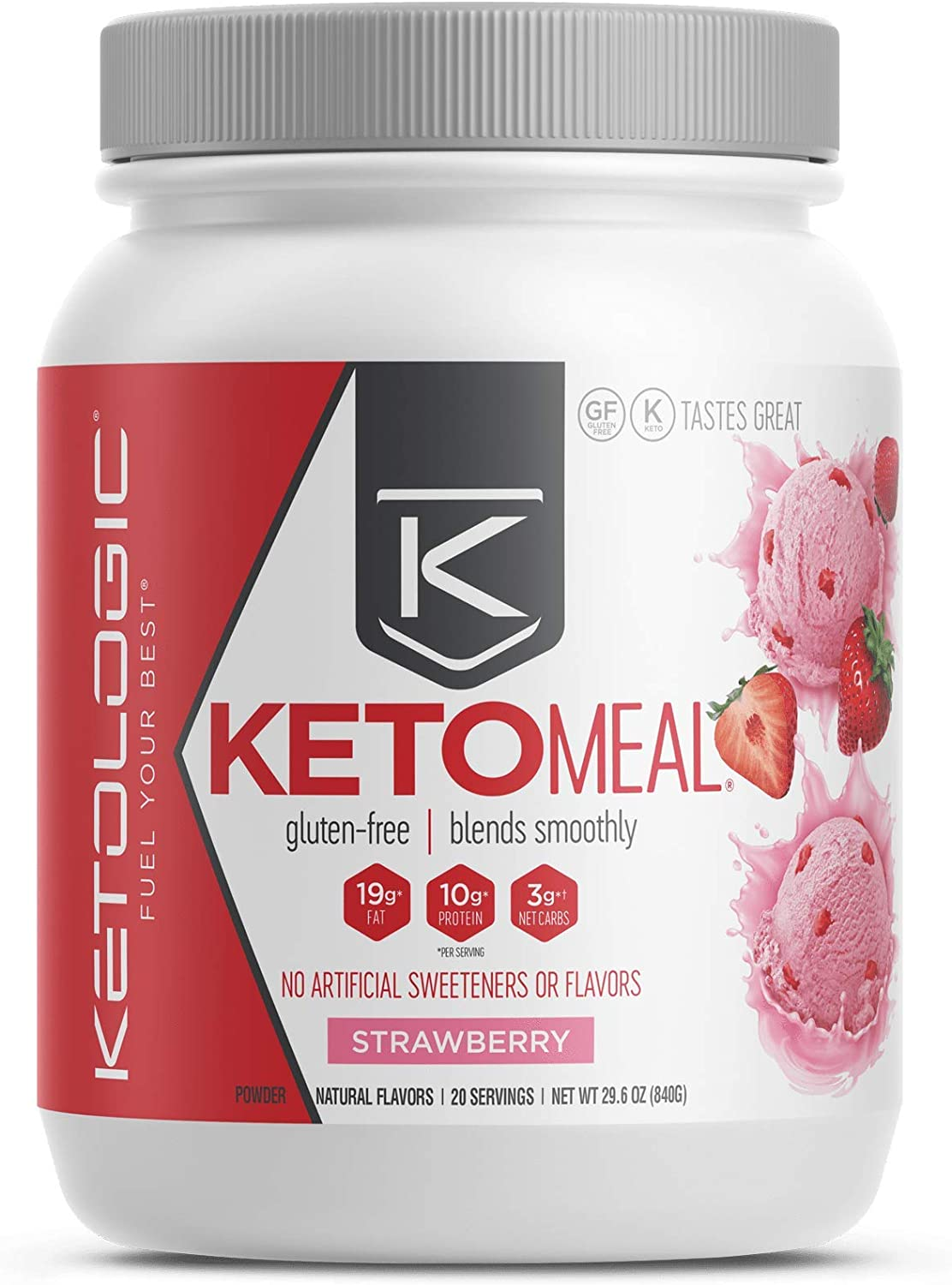 KetoLogic Keto Meal Replacement Shake Powder: Strawberry (20 Servings) – Low Carb, Keto Shake Rich In MCT Oil, Healthy Fats and Whey Protein - Formulated Macros Support Keto Diet & Ketosis