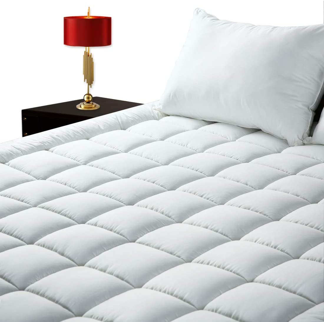 GOPOONY Ultra Soft King Size Mattress Pad Quilted Mattress Padding Topper Cover 400 TC Cotton Top Deep Pocket 8
