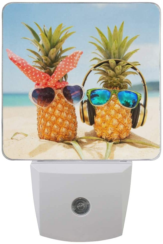 ALAZA Set of 2 Tropical Funny Pineapple on Ocean Beach LED Night Light Lamp Dusk to Dawn Sensor Plug in Room Decor for for Girls Boys Adults