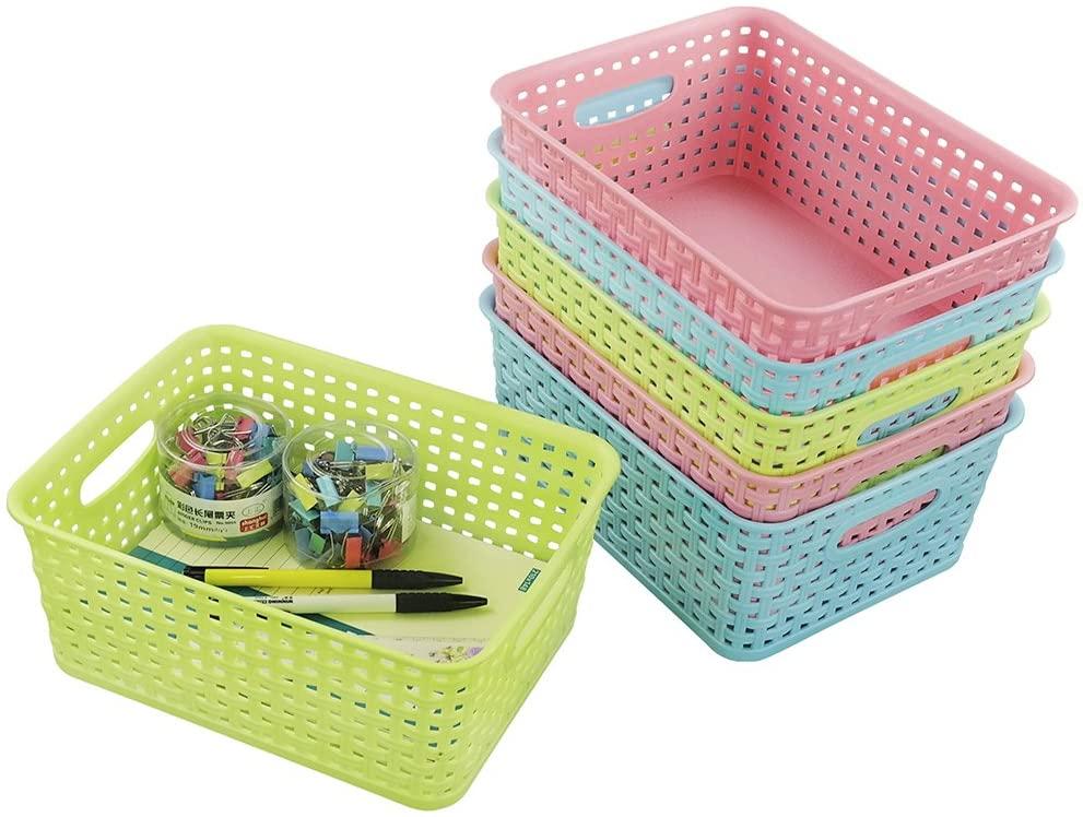 EudokkyNA Colored Plastic Weave Basket Set of 6, Small Pantry Organizer Bin