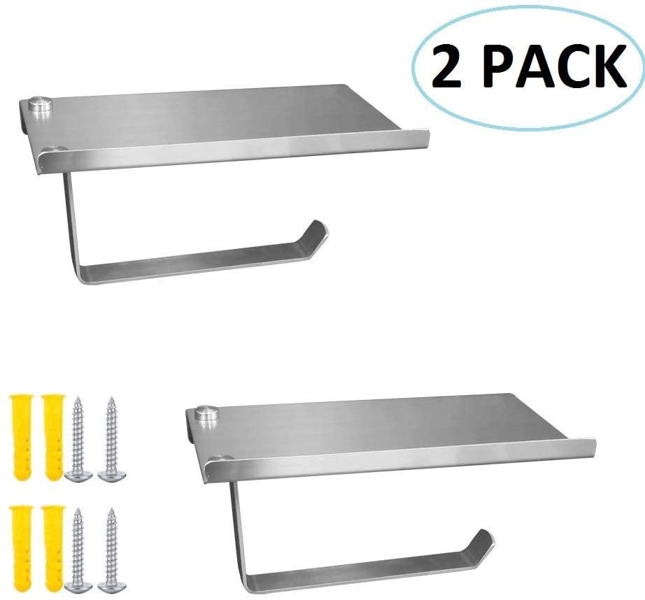 Zengest Toilet Paper Holder with Phone Shelf, Tissue Holder with Storage Shelf, Stainless Steel Bathroom Tissue Roll Dispenser Storage Wall Mounted (2 Pack)