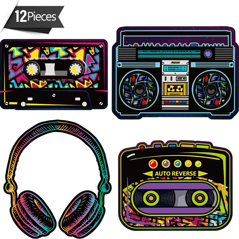 80's Party Decorations, 10 to 12 Inch 80's Cutouts Large Cassette Player Cutouts Headphones Cutouts Radio Cutouts for 1970s Party Decoration 1980's Theme Party Decorating Kit Retro Design (12 Pieces)
