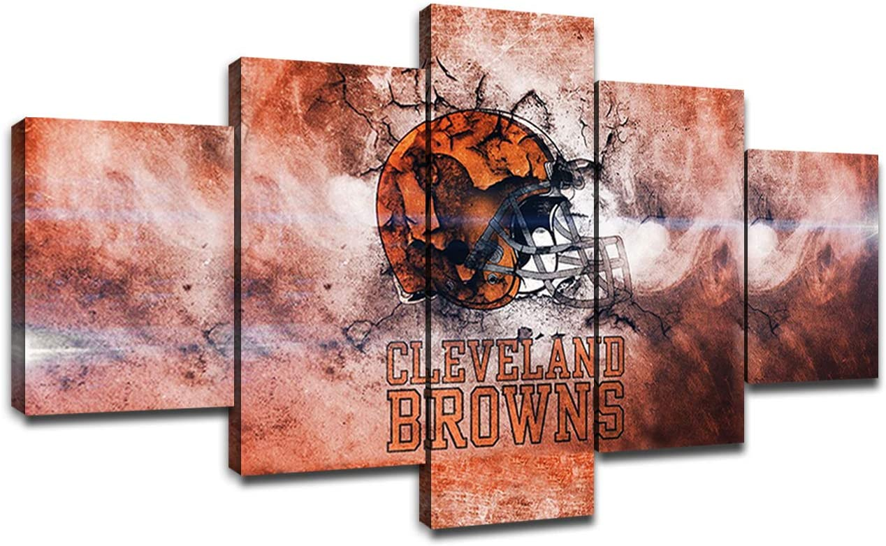 Cleveland Browns Team Logo Poster Wall Decor for Home Painting 5 Piece Canvas Prints Wall Art Picture Modern Decoration for Bedroom Poster with Frame Ready to Hang(60''Wx32''H)