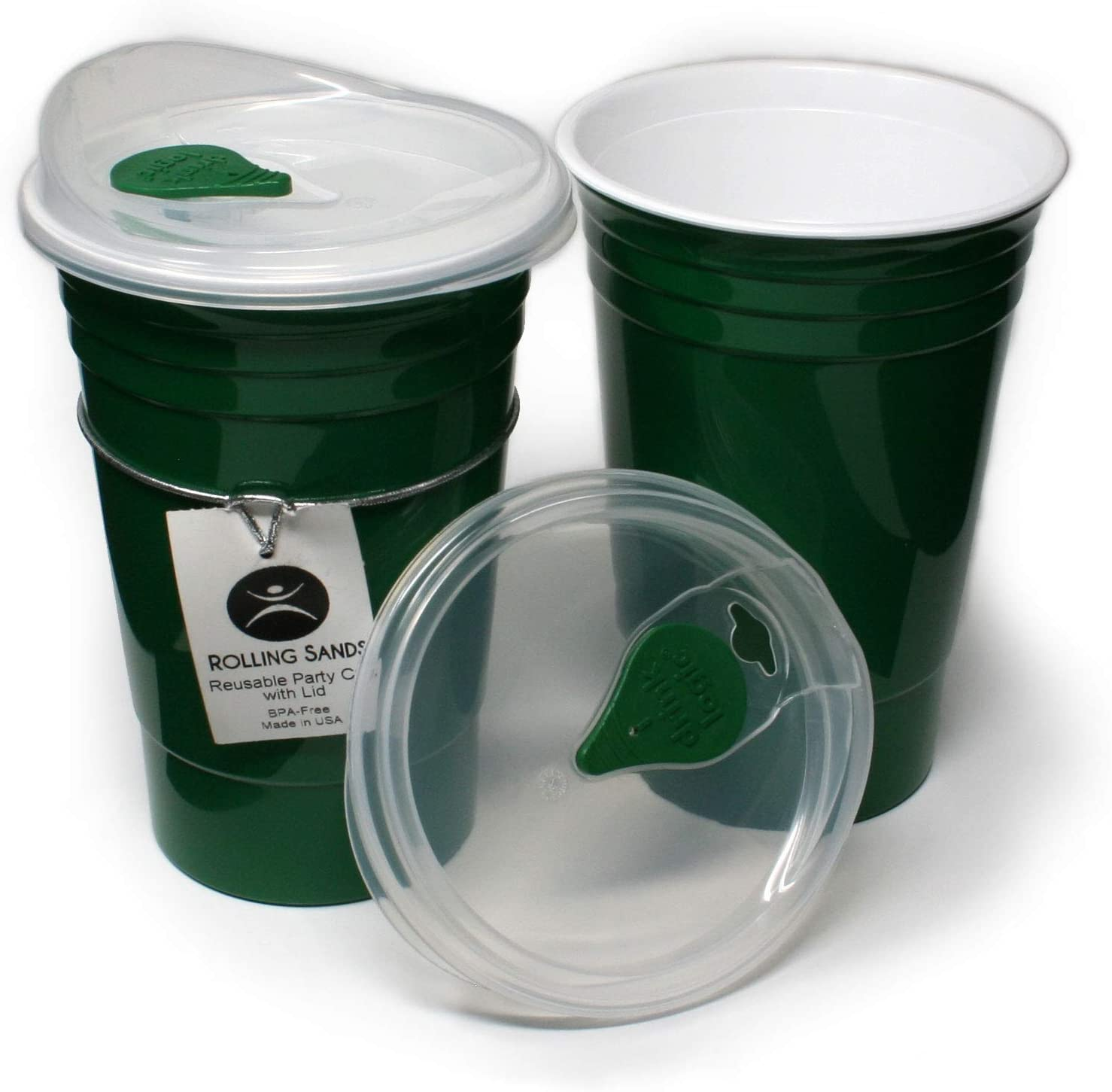 Rolling Sands Reusable BPA-Free 16 Ounce Green Party Cups with Lids - 2 Pack, Made in USA