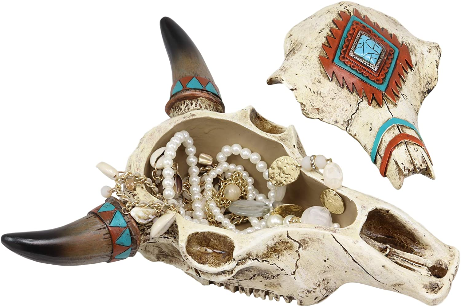 Ebros Southwest Western Steer Bull Cow Skull With Turquoise Diamond Design Jewelry Box Figurine Accent 10.5
