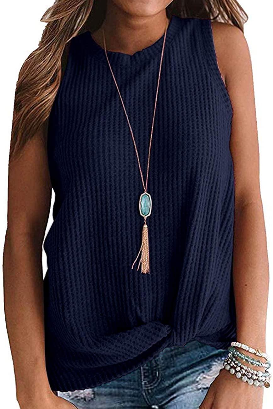 TODOLOR Women Casual Twist Knot Waffle Top Cute Sleeveless/Long Sleeve Knit Shirt Tank Top