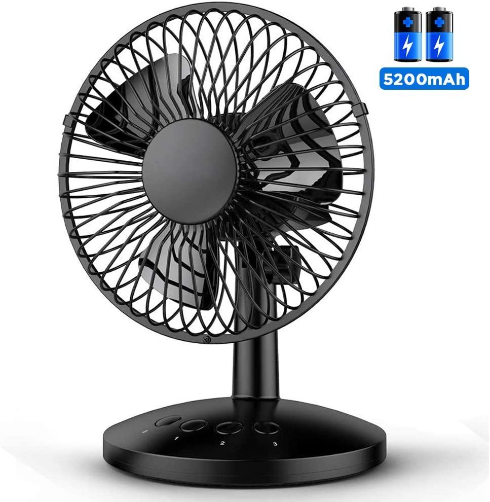 USB Desktop Battery Fan, FUNME 120° Oscillating Table Fan 5200mAh Enhanced Airflow Cooling Fan 6-16h Continuous Use Personal Fan 3 Speeds Small Quiet Fan
