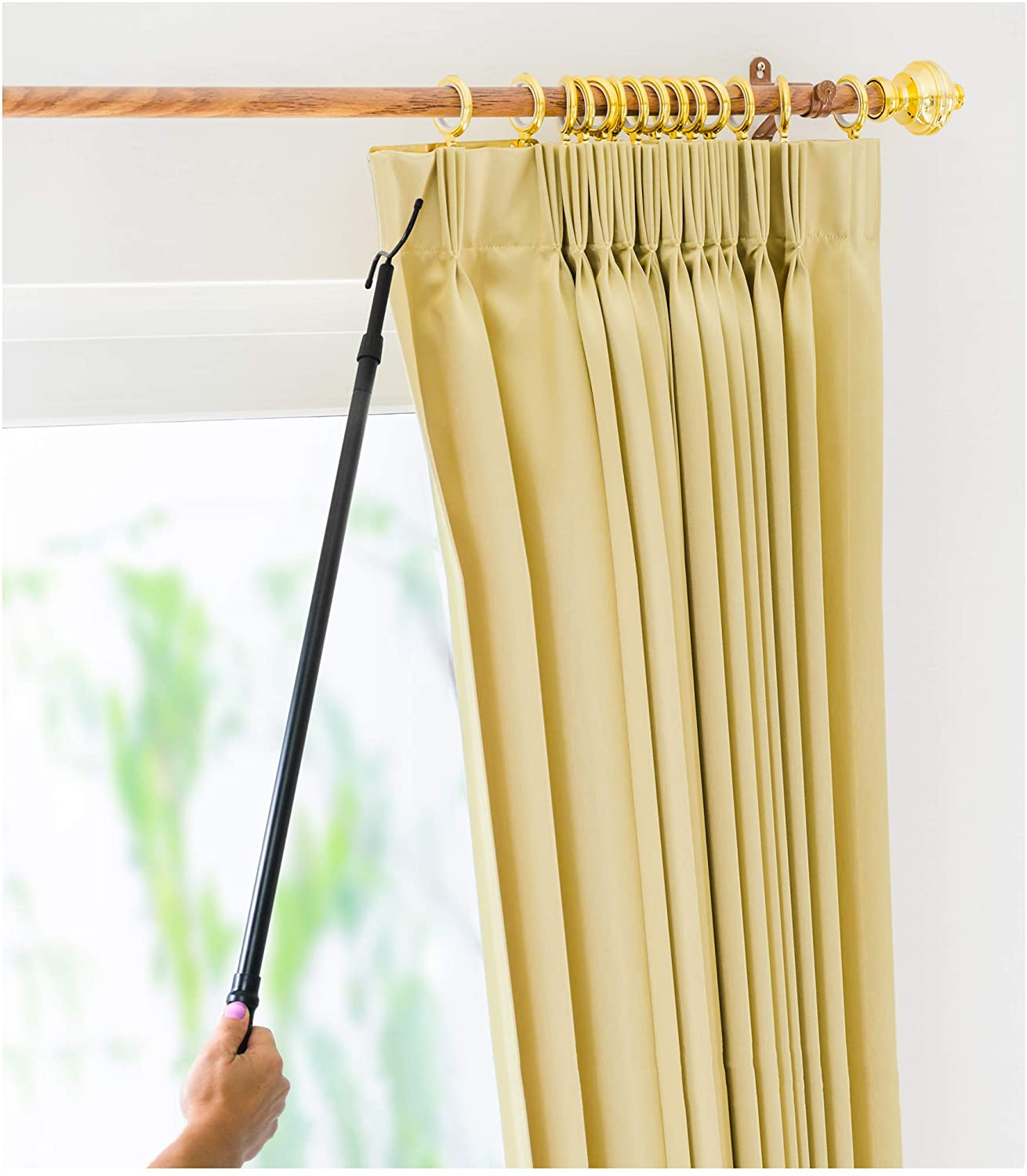 Drapery Pull Rod - the Original 36-62 Universal Telescoping Drapery Pull Rod and Adjustable Curtain Wand for Easier Opening and Back Doubles as a Clothes Hook Hanger for Closet Storage Organization