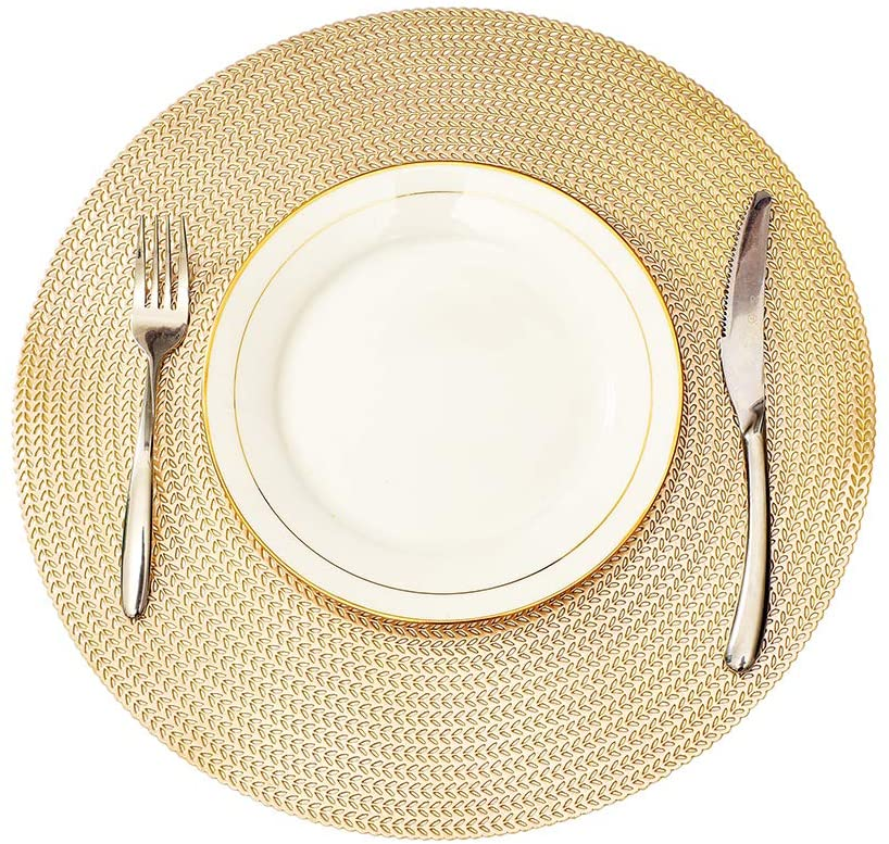 MLADEN Round Placemats Wheat Shaped Non-Slip Place mats, Washable Dining Table Mats Table Decoration Set of 4 (Gold)