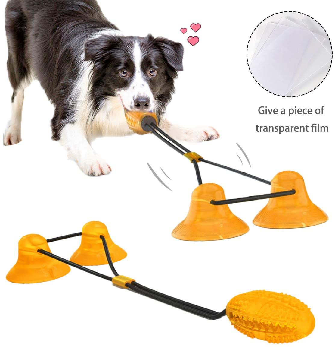 Pet Dog Chew Toys for Aggressive Chewers, with 2 Suction Cups Dog Toy Puppy Dog Training Treats Teething Rope Toys for Boredom, Dog Puzzle Treat Food Dispensing Ball Toys