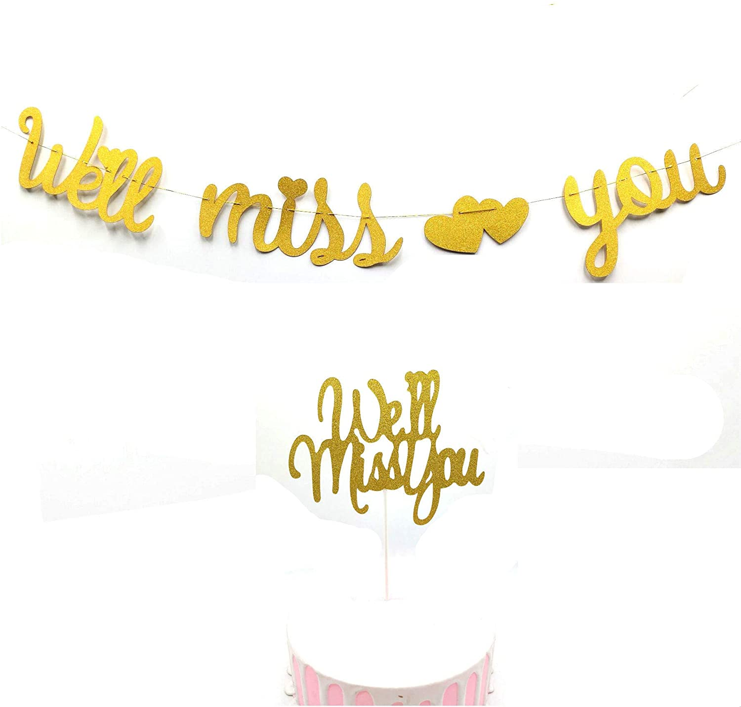 Gold Glitter We Will Miss You Banner Cake Topper Retirement Party Decorations Retirement Banner/Retirement Sign/Going Away Party Decor Farewell Party Decorations Office Work Party Decorations