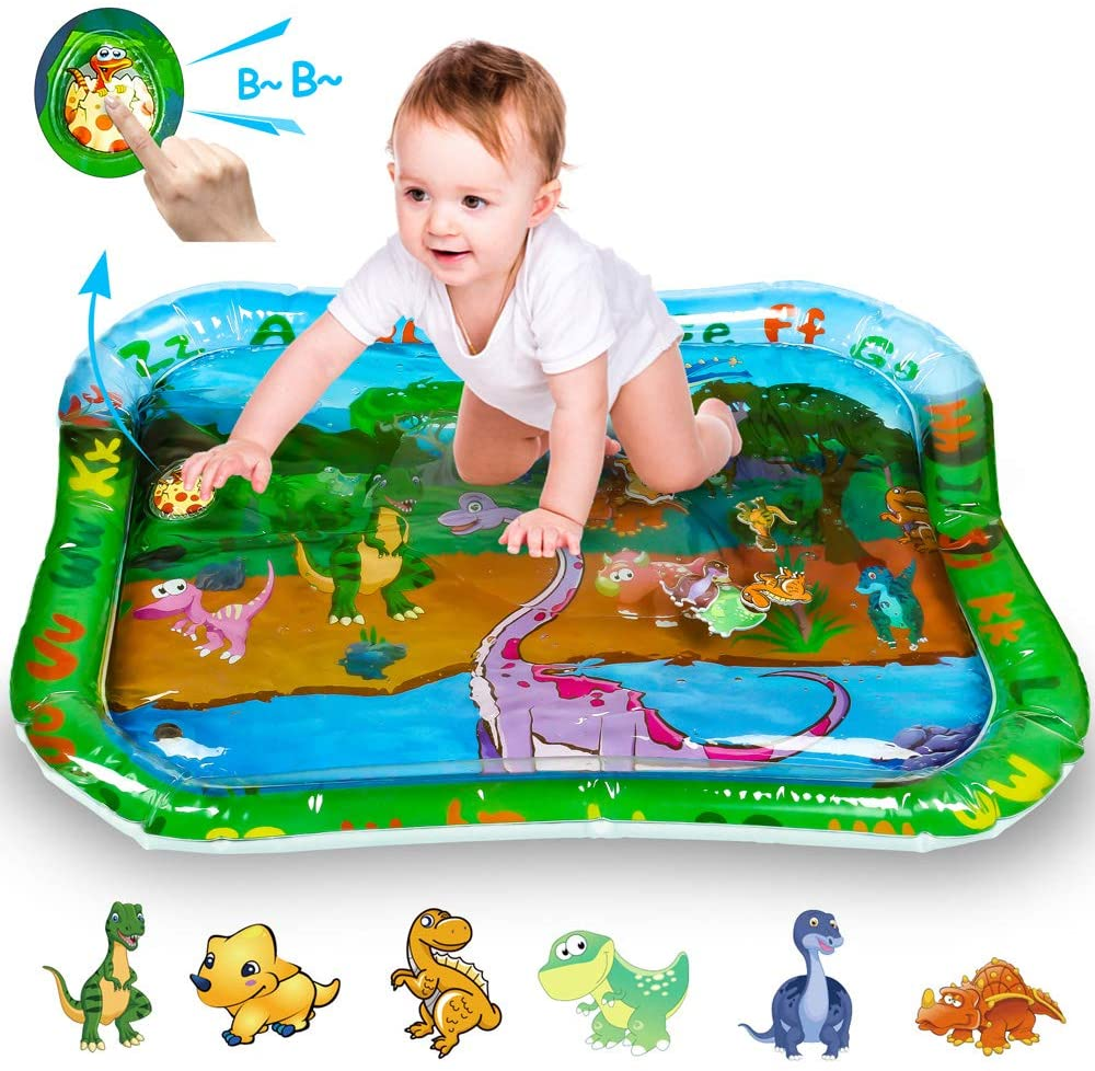 Ewolee Inflatable Tummy Time Water Mat, Large Leakproof BPAFree Baby Water Play Mat Toys with Dinosaurs Images, Fun Time Play Activity Center for Baby Stimulation Growth