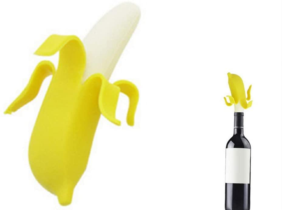 Keke's Home Creative Silica Gel Bottle Plug for Wine Beverage, Banana Wine Bottle Stopper