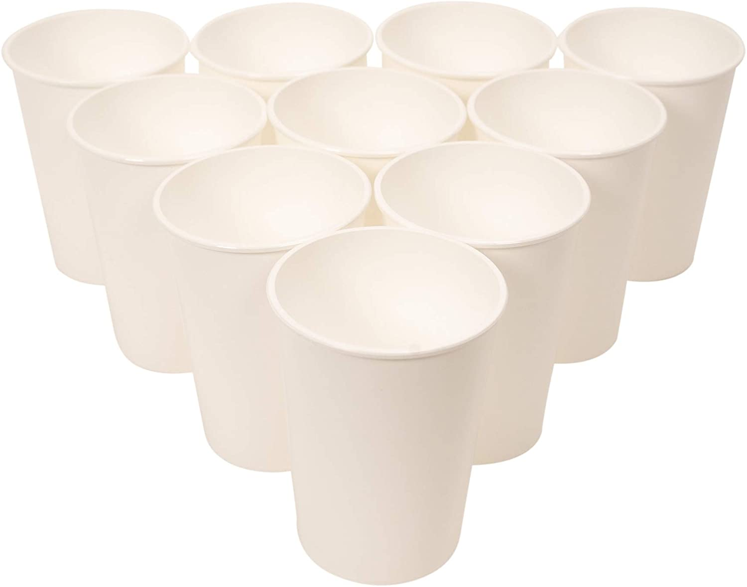 CSBD Stadium 12 oz. Plastic Cups, 10 Pack, Blank Reusable Drink Tumblers for Parties, Events, Marketing, Weddings, DIY Projects or BBQ Picnics, No BPA (White)