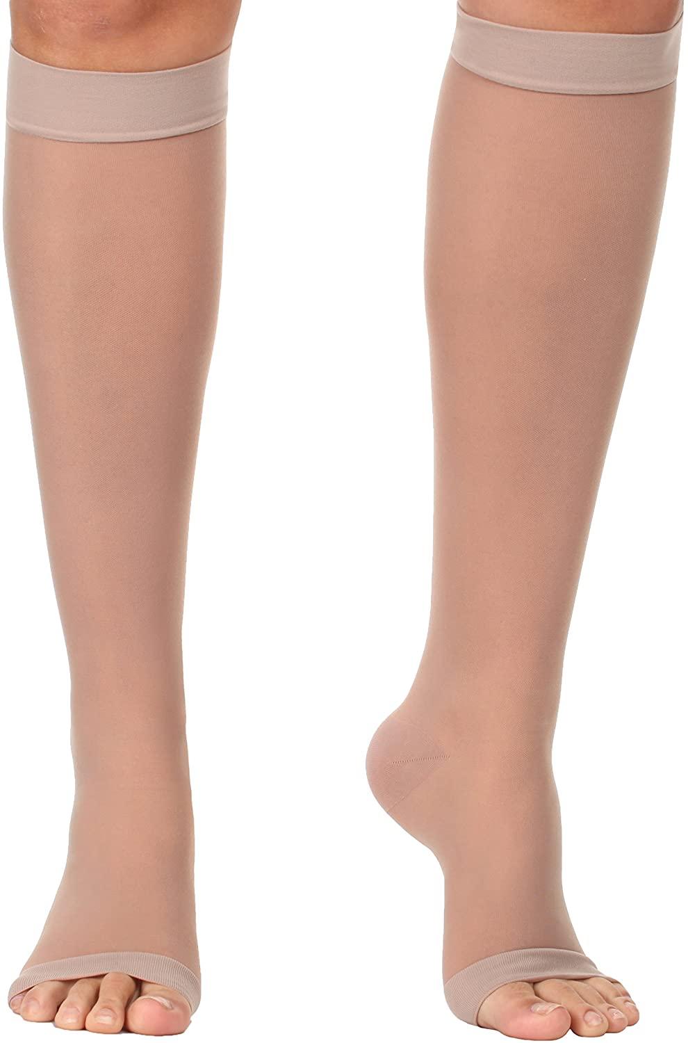 Sheer Open Toe Knee High Firm Support 20-30mmHg- Beige, Large – Made in USA
