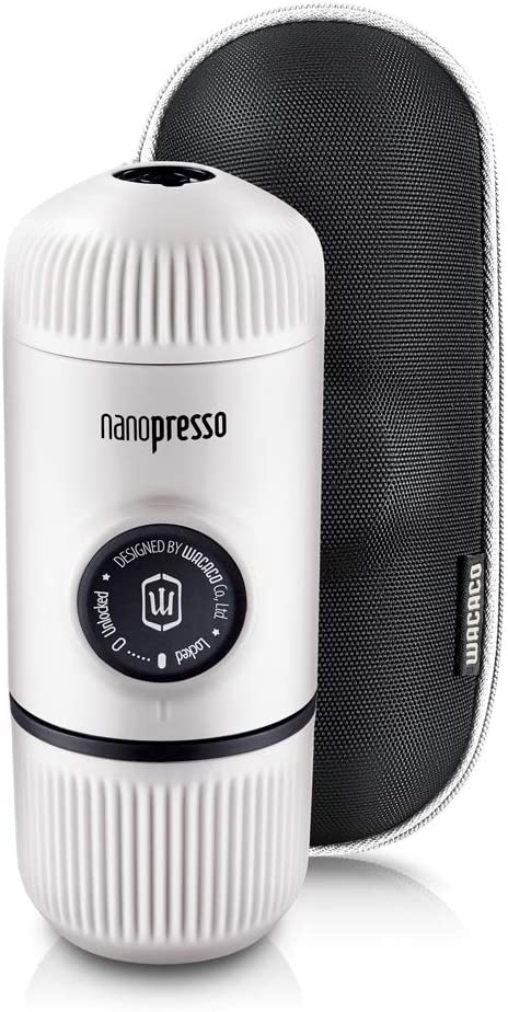 WACACO Nanopresso Portable Espresso Maker Bundled with Protective Case, Upgrade Version of Minipresso, Mini Travel Coffee Machine, Perfect for Camping, Travel and Office(New Elements Chill White)