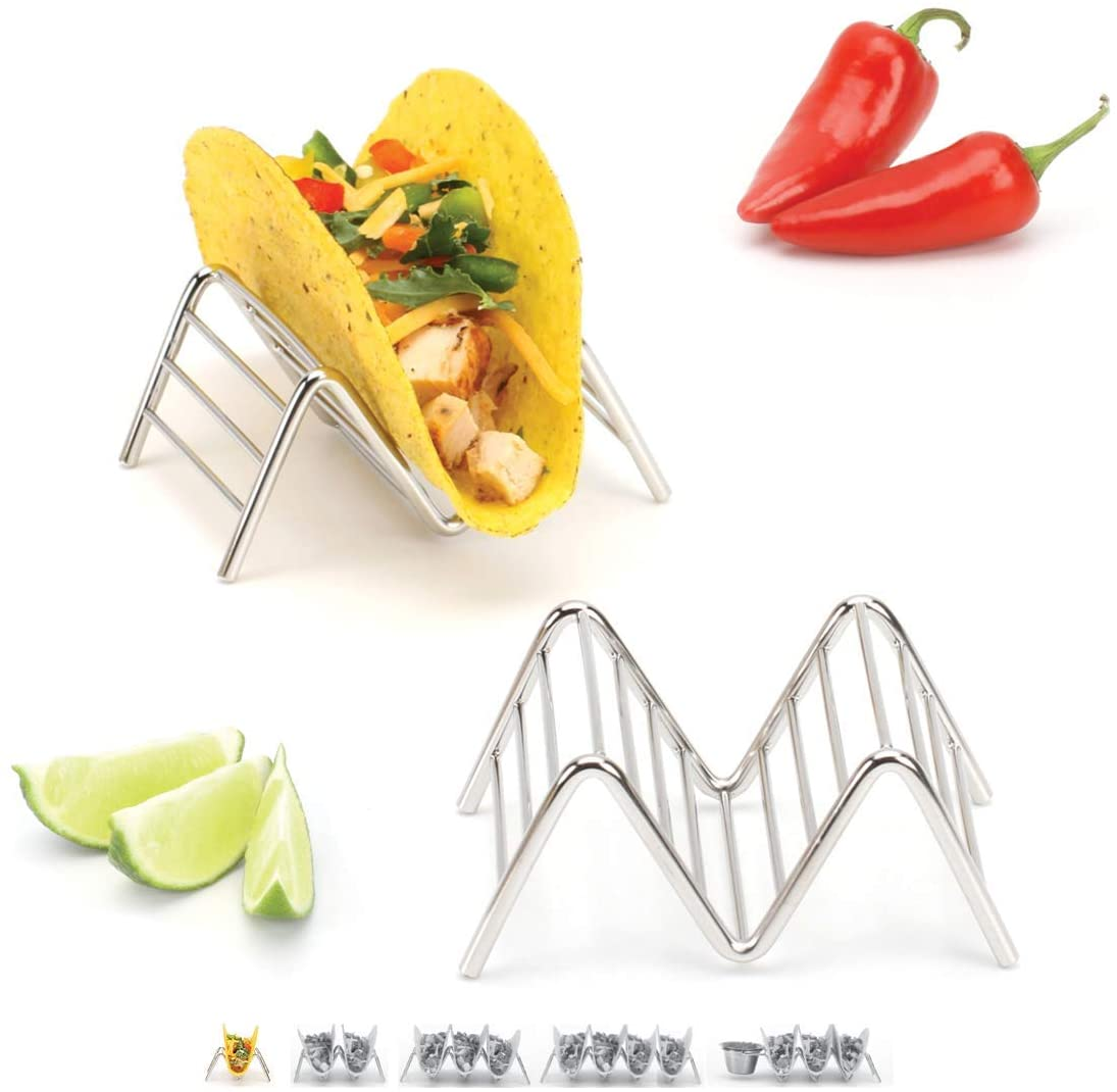 Taco Holders Set of 2 Premium Stainless Steel Stackable Stands, Each Rack Holds 1 or 2 Hard or Soft Tacos, Five Styles Available By 2lbDepot