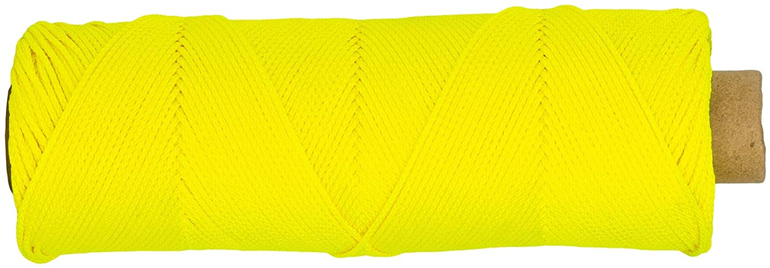SGT KNOTS Braided Mason Line #18 - Nylon Twine, Moisture and Acid Resistant for DIY Projects, Crafting and Commercial (500 ft, FluorescentYellow)