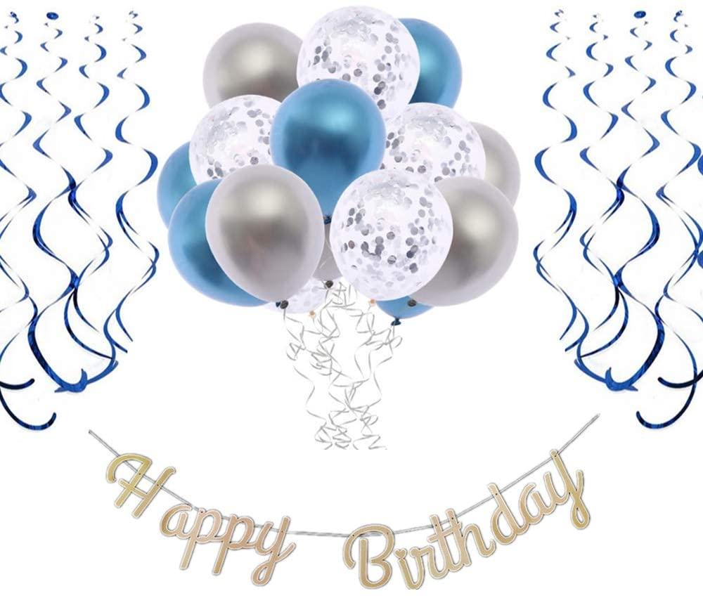 O MAO Birthday Decorations for Boys Girls Laser Happy Birthday Garland Color Balloon Blue Spirals Birthday Decorations Set