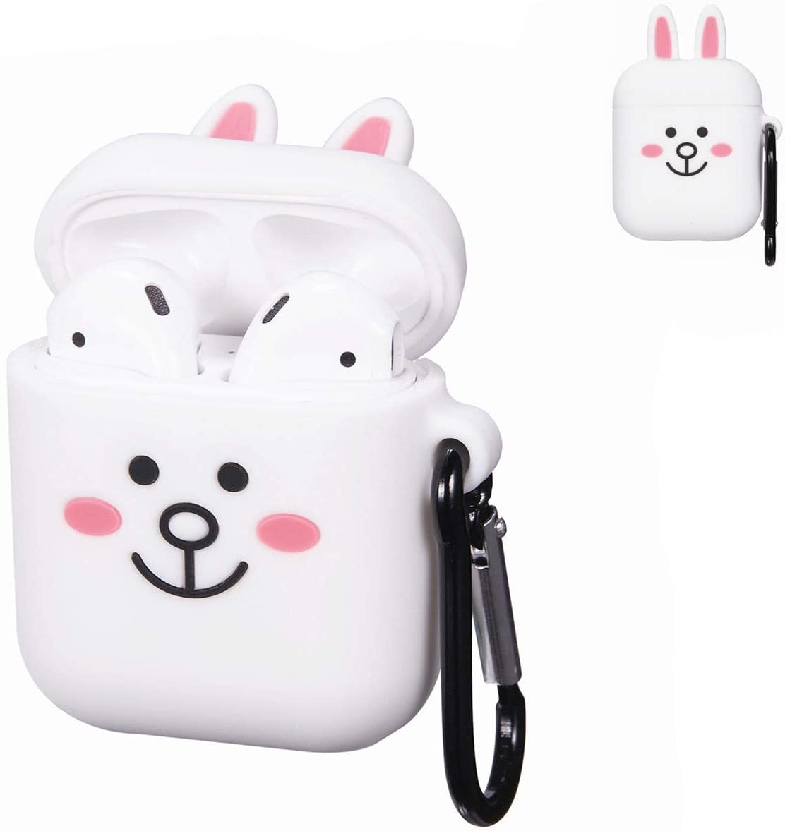 Punswan Cony Rabbit White Airpod Case for Airpods 1&2,Cute 3D Funny Cartoon Character Soft Silicone Catalyst Cover,Kawaii Fun Cool Keychain Design Skin,Fashion Cases for Girls Kids Boys Air pods