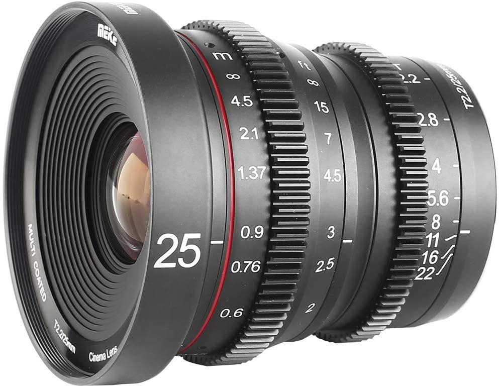 Meike 25mm T2.2 Large Aperture Wide Angle Manual Focus Mini Cinema Lens for Micro Four Thirds M43 MFT Olympus Panasonic Lumix Cameras and BMPCC 4K Zcam E2
