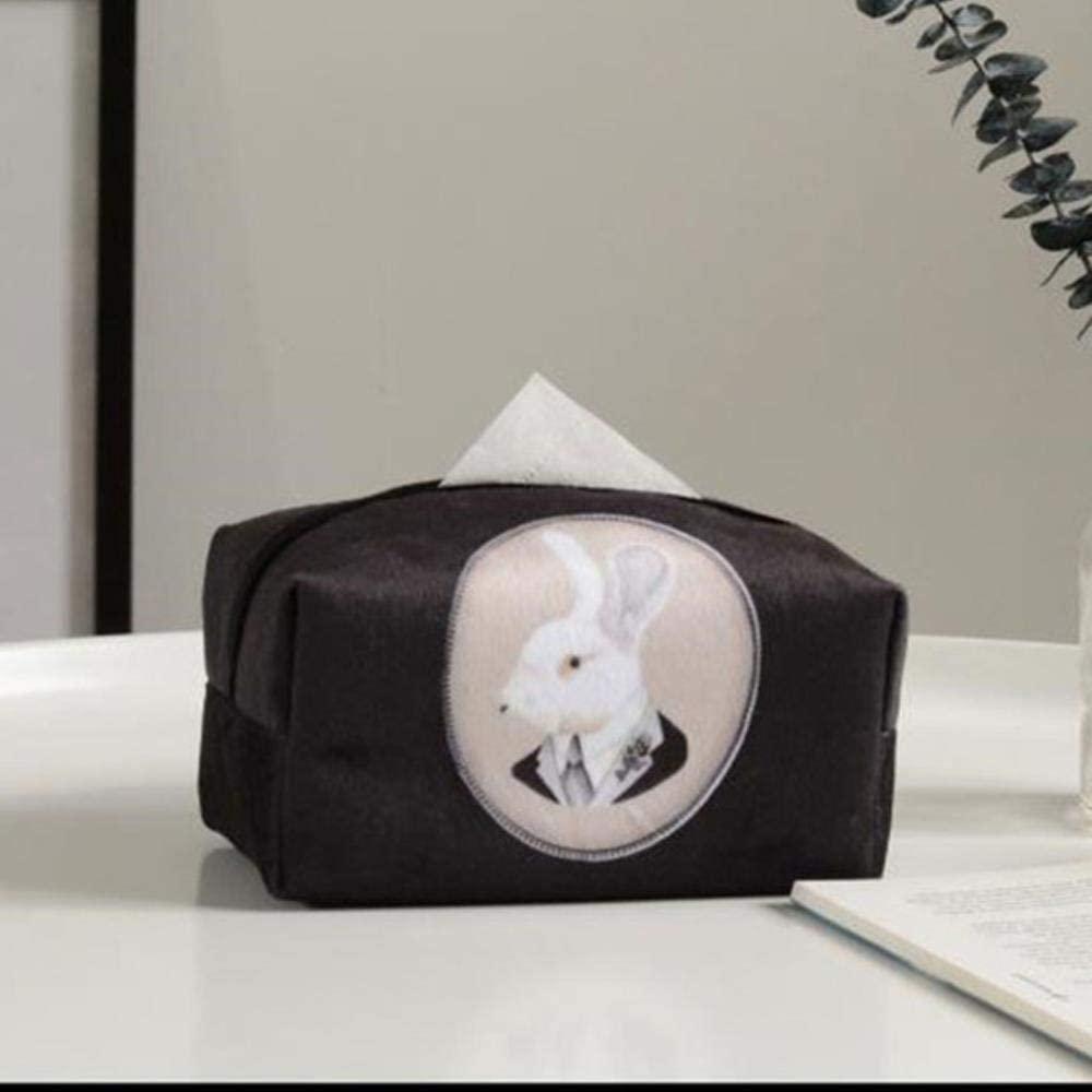 Goodhome 18129.5cm Vintage Rabbit Flock Cloth Tissue Boxes Tissue Paper Box Cover Case Living Room Table Decorative Tissue Box Holder for Car Hotel,White Rabbit
