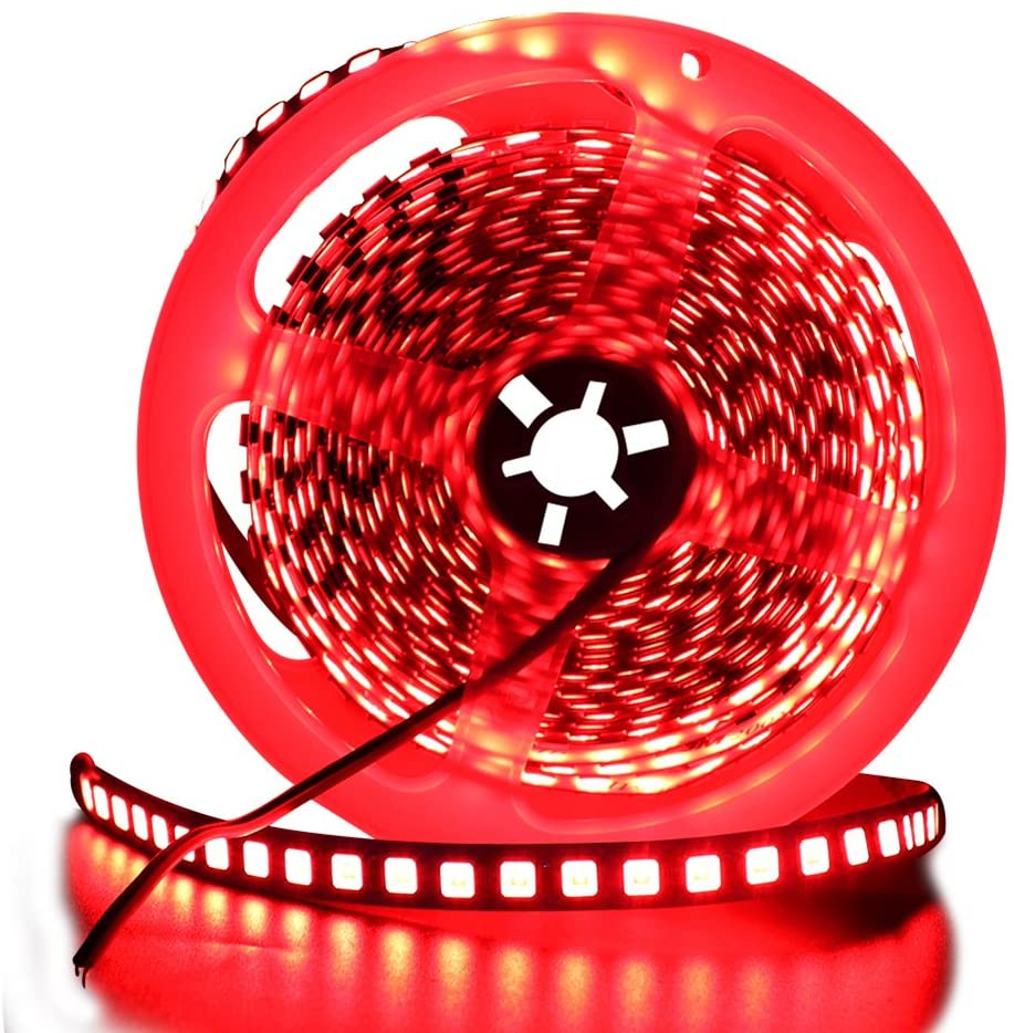 XUNATA 16.4ft LED Flexible Light Strip, 600 Units SMD 5054 LEDs(5050 Upgraded), 12V DC Waterproof IP67 Light Strips, LED Ribbon, DIY Christmas Home Kitchen Indoor Party Decoration (Red)