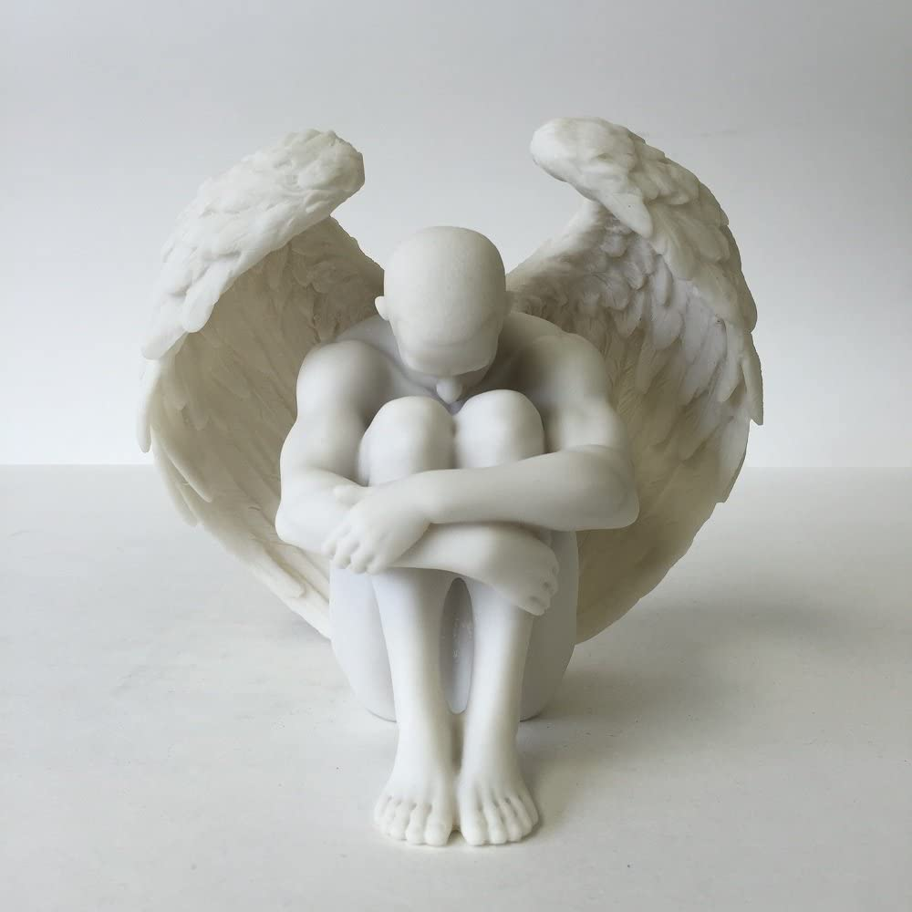 WU Male Nude Angel Holding Knees Statue Sculpture