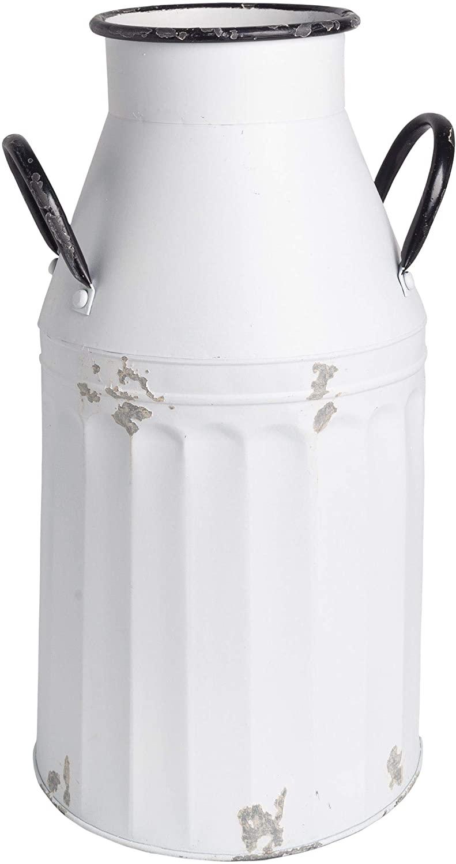 Home Essentials 28307 Antiqued Galvanized Flower Bucket, 19-inch Height, White