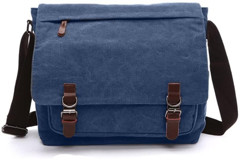 Sechunk Canvas Leather Messenger Bag Shoulder bag Cross body bag Crossbody small for men boy girl student school (blue, large)