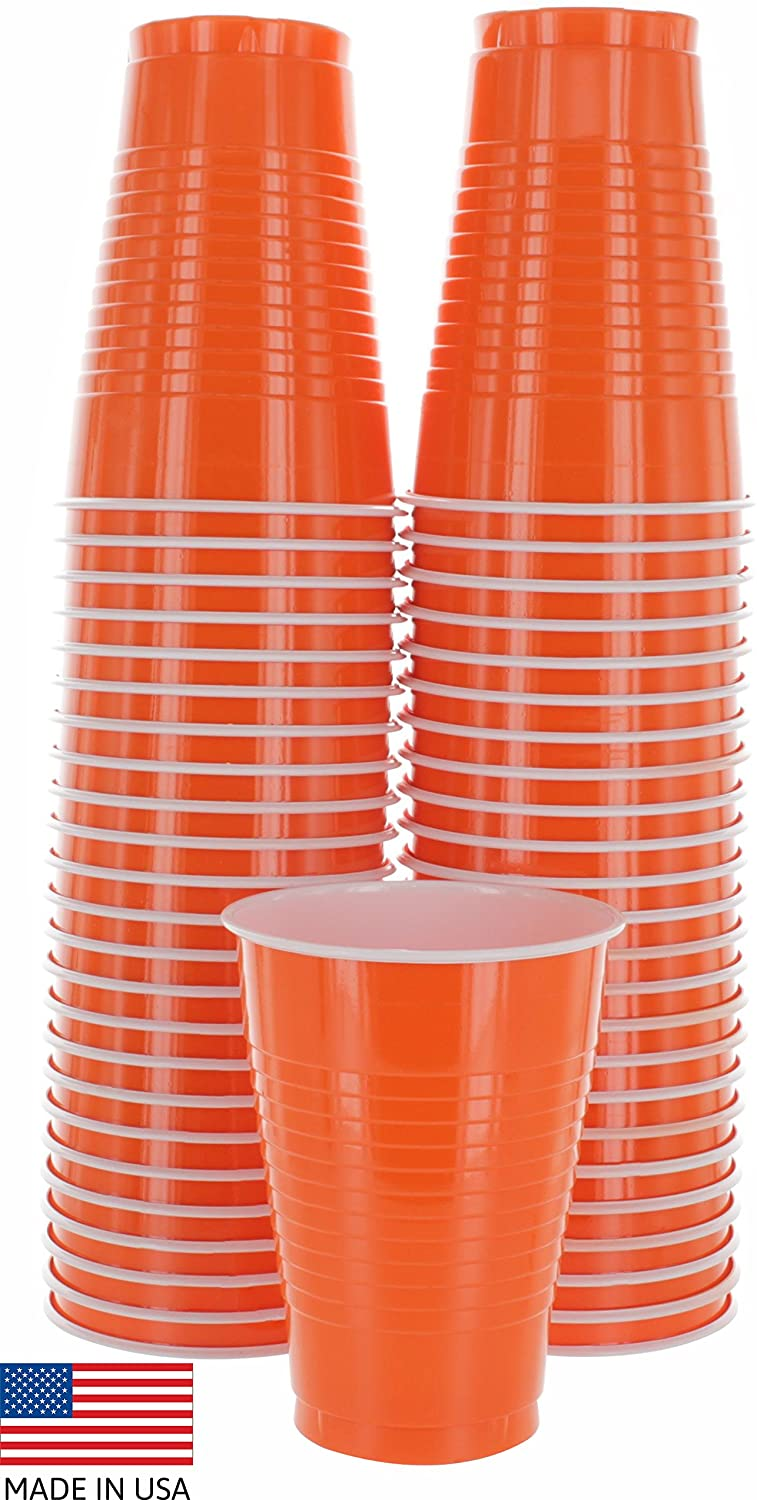 Amcrate Orange Colored 12-Ounce Disposable Plastic Party Cups - Ideal for Weddings, Party's, Birthdays, Dinners, Lunch's. (Pack of 50)
