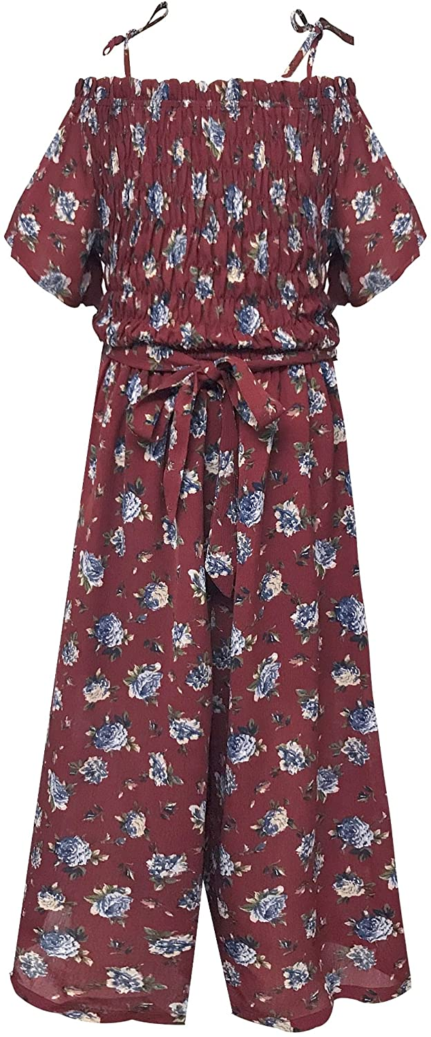 Smukke, Big Girls Floral Printed Smocking and Ruffle Detailed Jumpsuits with Pockets (Many Options), 7-16