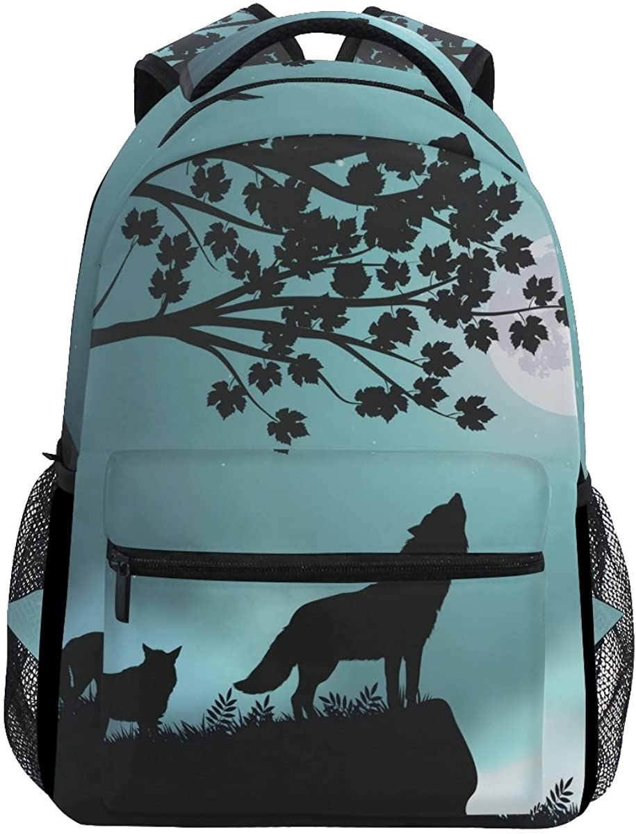 Backpack Travel Evening Moon Wolf School Bookbags Shoulder Laptop Daypack College Bag for Womens Mens Boys Girls